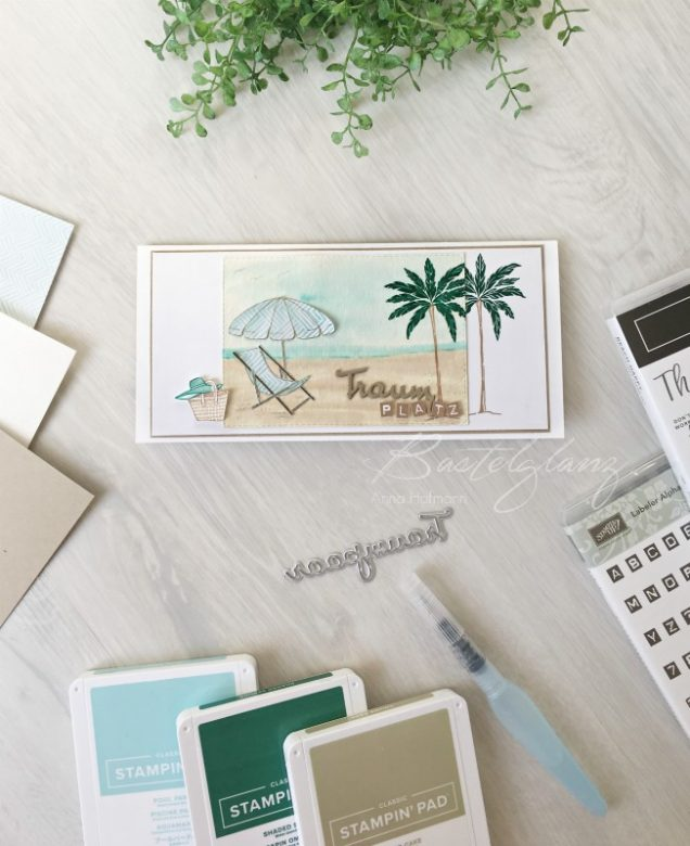 traumplatz karte beach happy stampinup